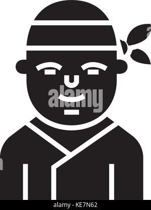 ninja - japanese icon, vector illustration, black sign on isolated background - Stock Photo