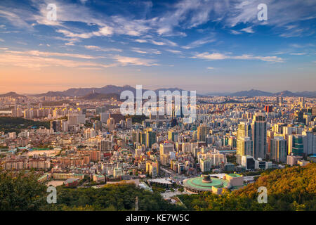 Seoul. Cityscape image of Seoul downtown during summer day. - Stock Photo