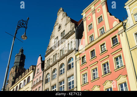 Details Of Old Buildings In Market Square; Wroclaw, Lower Silesia, Poland - Stock Photo
