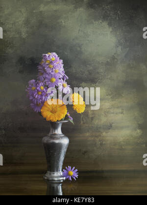 Aster amellus and calendula. Floral arrangement of Michaelmas daisies and marigold on artistic background. - Stock Photo