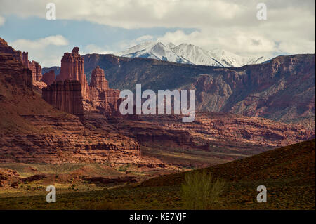 Fisher Towers in Castle Valley; Utah, United States of America - Stock Photo