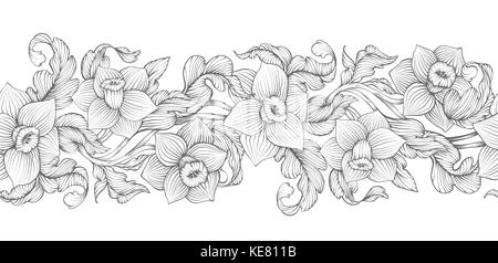 Daffodils narcissus dense outline sketch drawing floral seamless border. Spring flowers black and white foliage - Stock Photo