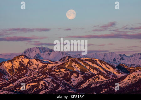 The moon rises over the mountains of Denali National Park at sunrise; Alaska, United States of America - Stock Photo