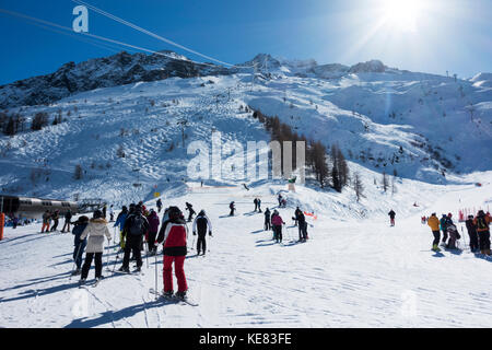 Skiers At A Ski Resort, Aiguille Ges Grands Montets; Chamonix, France - Stock Photo