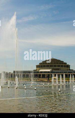 Centennial Hall With Multimedia Fountain; Wroclaw, Lower Silesia, Poland - Stock Photo
