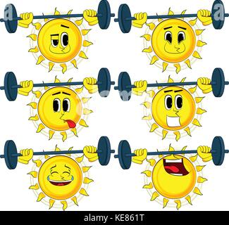 Cartoon Weightlifter Sun Lifting Barbell Collection With Sad