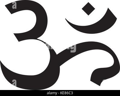 om - india - meditation icon, vector illustration, black sign on isolated background - Stock Photo