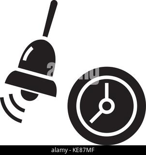 alarm - school bell icon, vector illustration, black sign on isolated background - Stock Photo