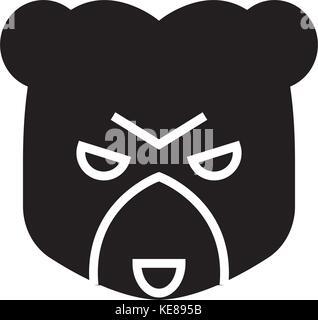 bear market icon, vector illustration, black sign on isolated background - Stock Photo