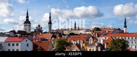 Panoramic view of the city of Tallinn in Estonia. The Old Town is one of the best preserved medieval cities in Europe - Stock Photo