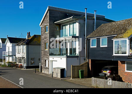 Street in Rye Harbour, East Sussex, England UK - Stock Photo