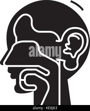 ear, nose, and throat - ent icon, vector illustration, black sign on isolated background - Stock Photo