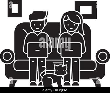 family at sofa working on laptops with cat icon, vector illustration, black sign on isolated background - Stock Photo