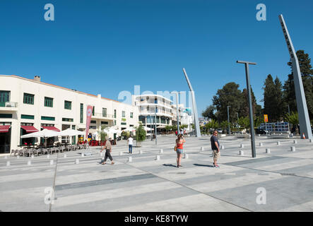 The newly upgraded Kennedy Square in Paphos Old Town to coincide with Pafos European City of Culture 2017 celebrations. - Stock Photo