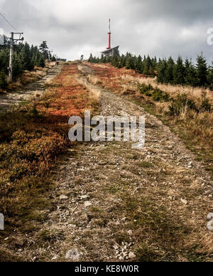 highest hill of Moravskoslezske Beskydy mountains in Czech republic - Lysa hora hill during autumn day - Stock Photo