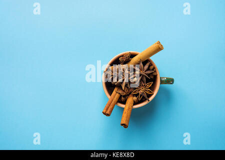 Ingredients for Baking Christmas Cookies Cake Pastry or Making Winter Fall Hot Drinks Mulled Wine Cider Tea Pumpkin - Stock Photo