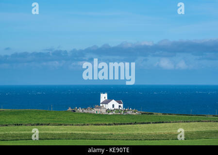 Church on the Atlantic Coast, Ballintoy, County Antrim, Northern Ireland, Great Britain - Stock Photo