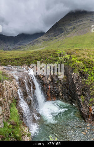 Waterfall at the Fairy Pools, Glen Brittle, Isle of Skye, Highland, Scotland, UK - Stock Photo