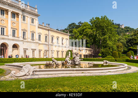 Como, Italy - May 27, 2016: Ancient fountain at Villa Olmo located in the city of Como, northern Italy. - Stock Photo