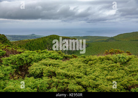 On Top of Volcano crater in Azores islands, Terceira - Stock Photo