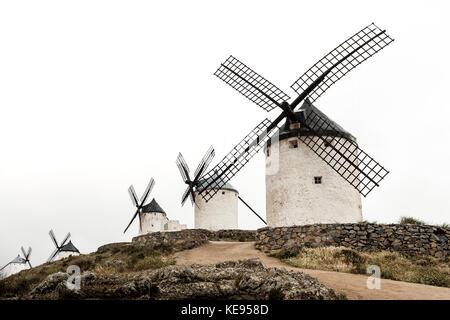 Old historic windmills in La Mancha, near Toledo, the land of Don Quixote - Stock Photo