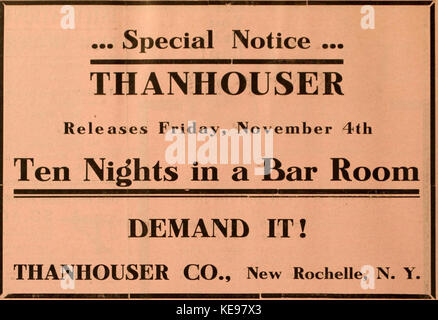 Ten Nights in a Bar Room 1910 ad - Stock Photo