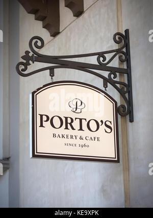 Exterior views of Porto's Bakery & Cafe in Burbank, CA - Stock Photo