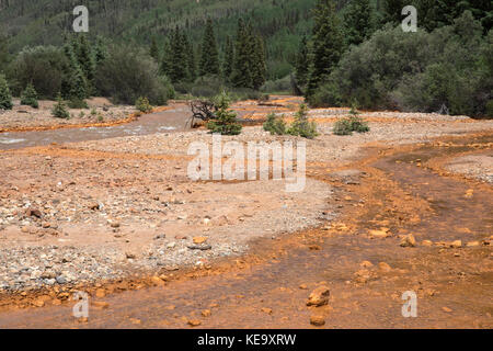 Water pollution, runoff from the Red Mountain Mine, Ouray County, Colorado, USA - Stock Photo