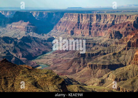The Colorado River can be seen in this view taken from the south rim of the Grand Canyon - Stock Photo