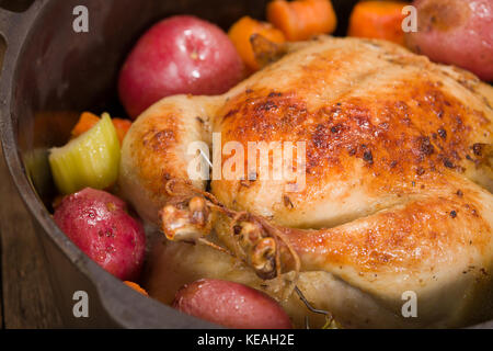 Dutch-style roasted chicken with baked red potatoes, carrots and celery, in a cast iron pot on a rustic wood table - Stock Photo