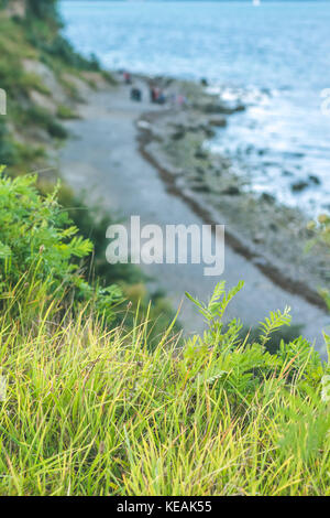 Baltic coastline. Escarpment slope lead to pebble beach. Baltic sea bay. Luebeck - Travemuende, Germany - Stock Photo
