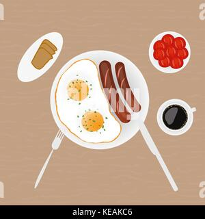 Breakfast of fried eggs sausages salad bread and coffee - Stock Photo