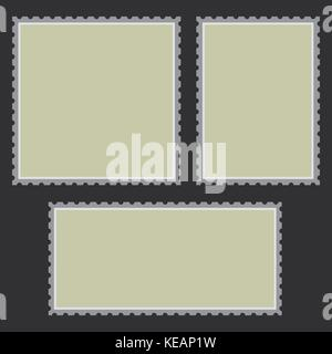 Blank post stamp set. Empty postage stamp. Vintage frames isolated on background. Vector - Stock Photo