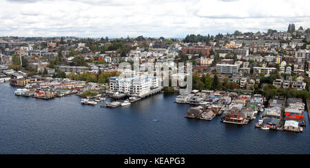 aerial view of floating homes on Lake Union, Seattle, Washington, USA - Stock Photo