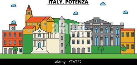 Italy, Potenza. City skyline architecture, buildings, streets, silhouette, landscape, panorama, landmarks. Editable - Stock Photo