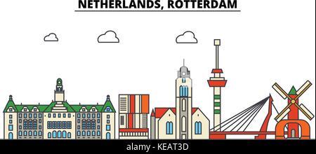 Netherlands, Rotterdam. City skyline architecture, buildings, streets, silhouette, landscape, panorama, landmarks. - Stock Photo