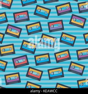 cassettes pattern set on pop art linear color background - Stock Photo
