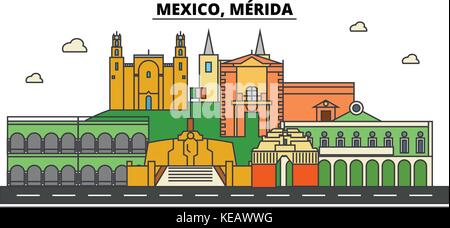 Mexico, Merida. City skyline, architecture, buildings, streets, silhouette, landscape, panorama, landmarks. Editable - Stock Photo