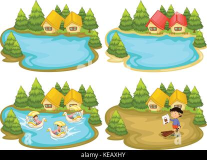 houses by the lake - Stock Photo