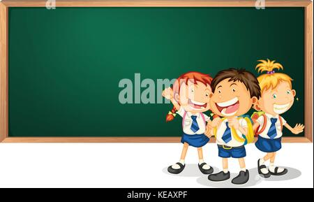 Illustration of three children in uniform and a blackboard - Stock Photo