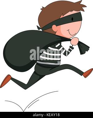 Closeup robber running away with black bag - Stock Photo