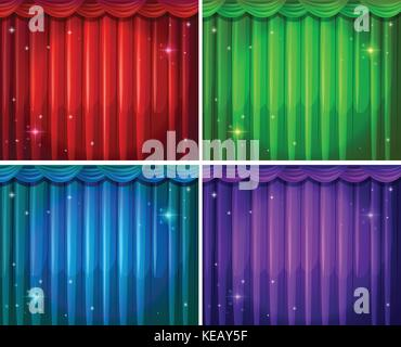 Four different colors of beautiful curtains - Stock Photo
