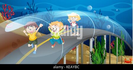 Children walking on the road underwater - Stock Photo