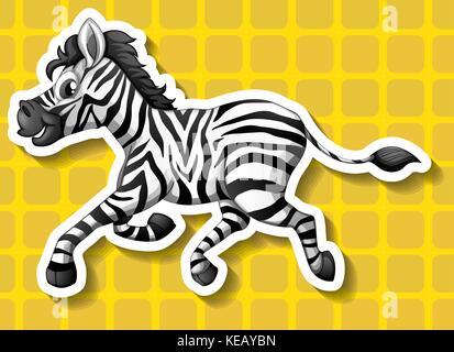 Closeup cute zebra running on yellow background - Stock Photo