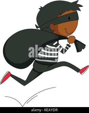 Closeup robber running away with a black bag - Stock Photo