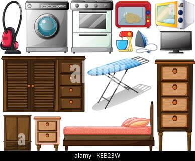 Illustration of many types of appliances - Stock Photo