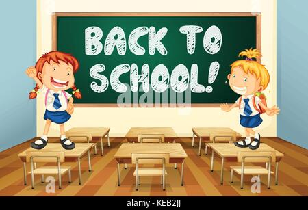 Illustration of a back to school sign - Stock Photo
