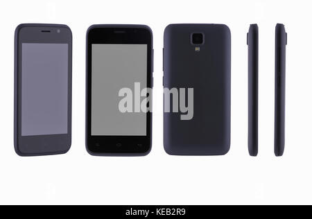 with different sides of a mobile phone on a white background - Stock Photo