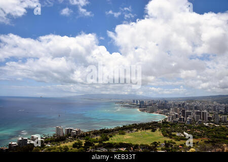 Hiking up to the summit of Diamond Head on the island of Oahu, Hawaii, offers spectacular views of the ocean below. - Stock Photo