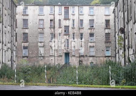 Poor Derelict Housing For Rent Sale UK Port Glasgow - Stock Photo